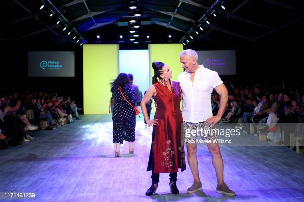 Megan Alatini and Mike McRoberts host the Mercy Hospice show at New Zealand Fashion Weekend 2019 on September 01 2019 in Auckland New Zealand