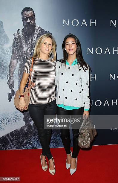 Megan Barnard and Tara Rushton arrive at the 'NOAH' Sydney Fan Screening at Event Cinemas George Street on March 26 2014 in Sydney Australia