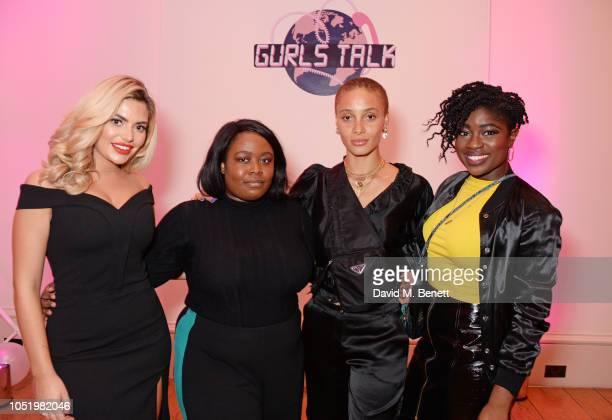 Megan Barton Hanson Mofe Sey Adwoa Aboah and Clara Amfo attend Adwoa Aboah's Gurls Talk website launch party at Somerset House on October 12 2018 in...
