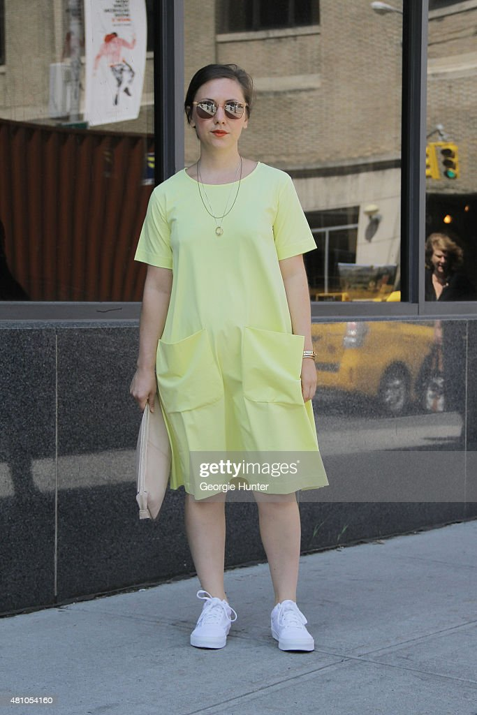 Megan Billings seen at Skylight Clarkson Sq outside the Perry Ellis show wearing COS dress, Vans shoes, Garrett Leight sunglasses and vintage bag during New York Fashion Week: Men's S/S 2016 on July 16, 2015 in New York City.