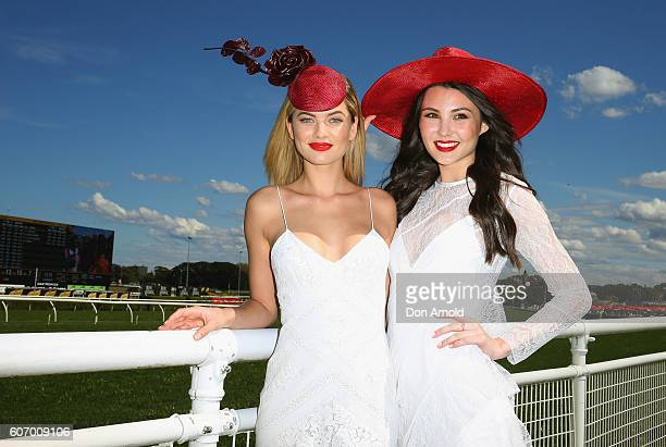 Megan Blake Irwin and Jessica Song pose during Stakes Day at Royal Randwick Racecourse on September 17 2016 in Sydney Australia