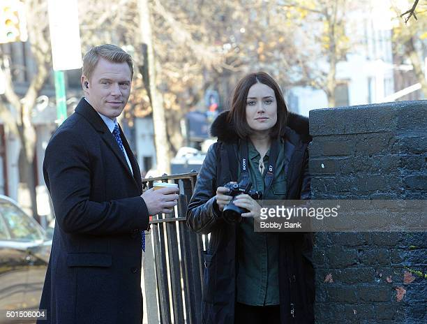 Megan Boone and Diego Klattenhoff on the set of The Blacklist on December 15 2015 in New York City