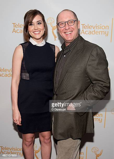 Megan Boone and James Spader attend an evening with 'The Blacklist' at Florence Gould Hall on April 2 2014 in New York City