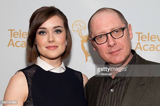 Megan Boone and James Spader attend an evening with The Blacklist at Florence Gould Hall on April 2 2014 in New York City