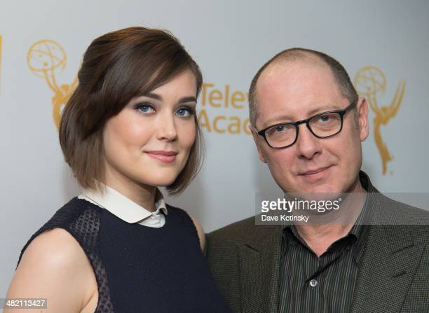 Megan Boone and James Spader attends an evening with 'The Blacklist' at Florence Gould Hall on April 2 2014 in New York City