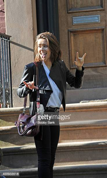 Megan Boone on the set of The Blacklist on September 22 2014 in New York City