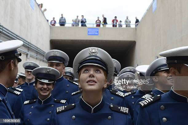 Megan Brandt joins fellow cadets for the Graduating Class Marchon at the start of the United States Air Force Academy graduation ceremony at Falcon...