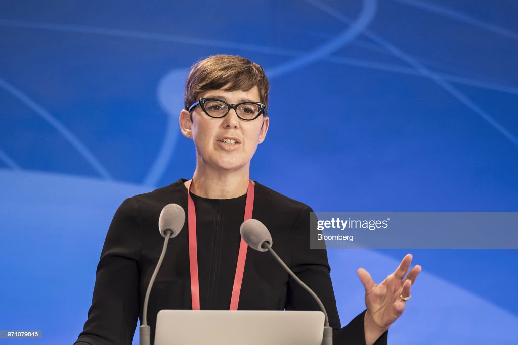 Megan Butler, director of supervision at the Financial Conduct Authority (FCA), speaks during the Lujiazui Forum in Shanghai, China, on Thursday, June 14, 2018. China's central bank is studying policies to boost loans to smaller firms, People's Bank of China Governor Yi Gang said in a speech to the annual forum. Photographer: Qilai Shen/Bloomberg via Getty Images