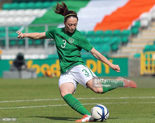 Megan Campbell of Ireland during the FIFA Women's World Cup 2015 Qualifier between Ireland and Germany at Tallaght Stadium on April 5 2014 in Dublin...