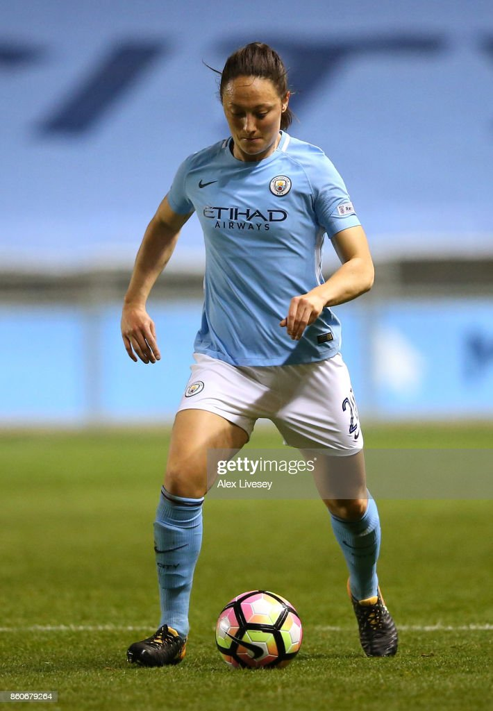Megan Campbell of Manchester City Ladies during the UEFA Women's Champions League match between Manchester City Ladies and St. Polten Ladies at Manchester City Football Academy on October 12, 2017 in Manchester, England.
