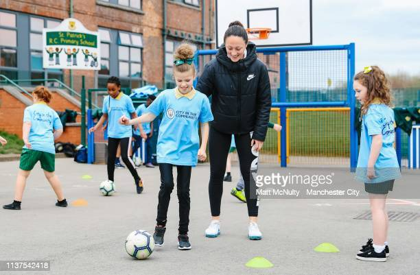 Megan Campbell of Manchester City Women takes part in a City in the Community football session at St Patrick's R.C. Primary School on March 21, 2019...