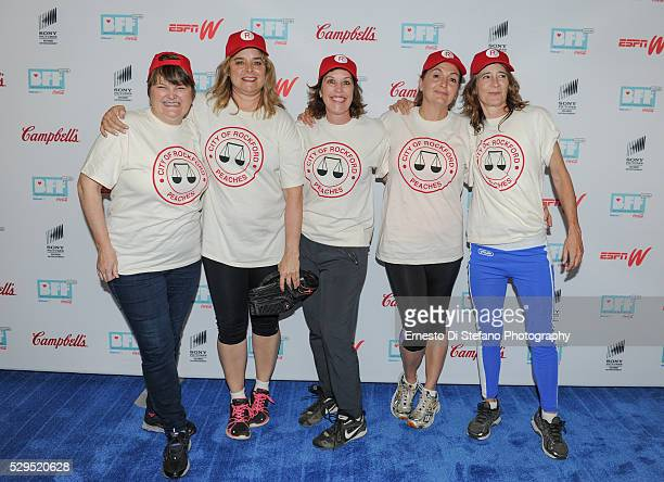 Megan Cavanagh Freddie Simpson Patti Pelton Tracy Reiner and Anne Ramsay Cast From A League Of Their Own attend A League Of Their Own event at Geena...
