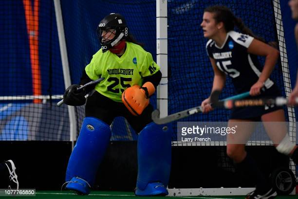 Megan Collins of the Middlebury Panthers defends her goal against the Tufts Jumbos during the Division III Women's Field Hockey Championship held at...