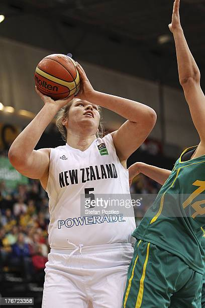 Megan Craig of the Tall Ferns takes a shot during the Women's FIBA Oceania Championship match between the Australian Opals and the New Zealand Tall...