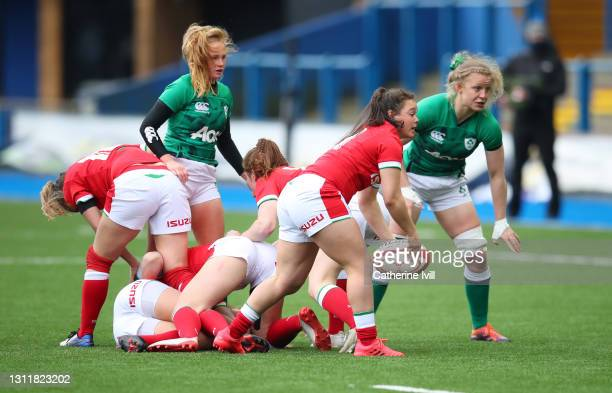 Megan Davies of Wales passes the ball during the Women's Six Nations match between Wales and Ireland at Cardiff Arms Park on April 10, 2021 in...