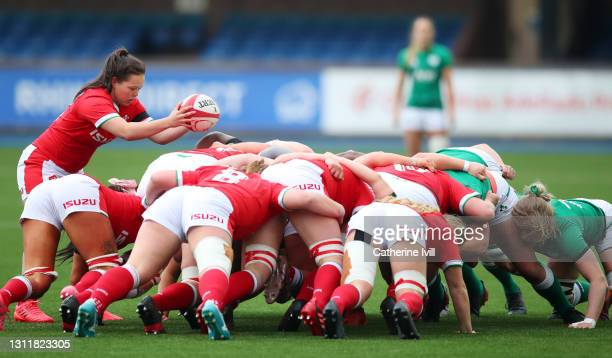 Megan Davies of Wales prepares to feed the ball into the scrum during the Women's Six Nations match between Wales and Ireland at Cardiff Arms Park on...