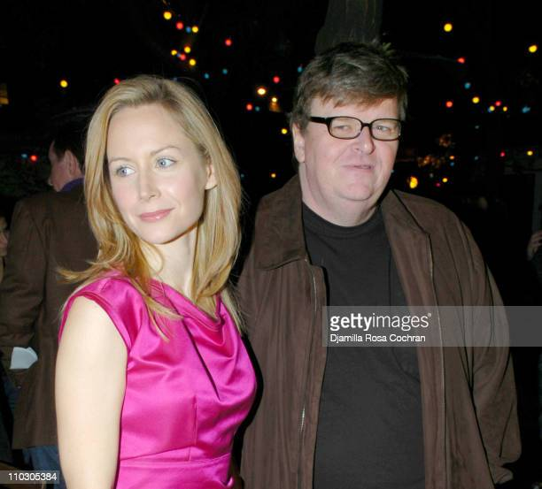 Megan Dodds and Michael Moore during Opening Night of My Name is Rachel Corrie After Party at Bowery Bar in New York City New York United States