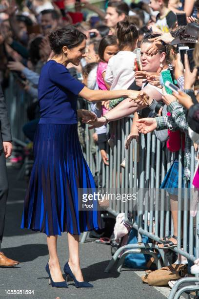 Megan Duchess of Sussex during a walkabout on day four of the royal couple's tour of New Zealand on October 31 2018 in Rotorua New Zealand The Duke...