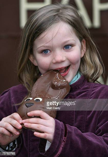 Megan eats a chocolate rabbit from part of the World's First Edible Billboard on April 3 2007 in Covent Garden London Thorntons will kickoff Easter...