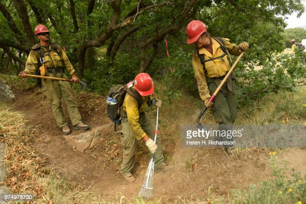 Megan Emerson right and other members of the Montana Bitterroot Hotshots use hand tools to put in a shaded fuel break and cut a hand line around a...