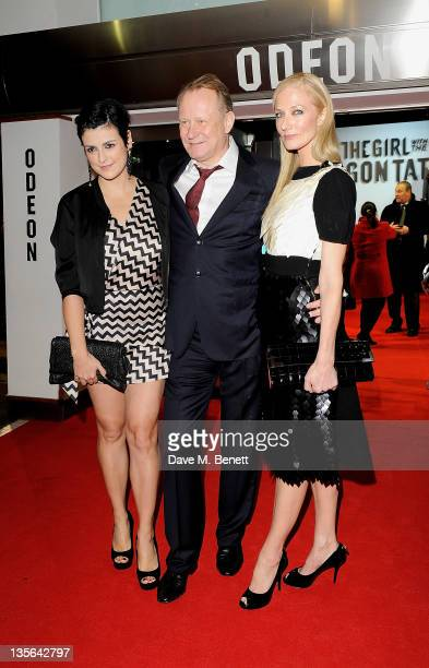 Megan Everett Stellan Skarsgard and Joely Richardson attend the World Premiere of 'The Girl With The Dragon Tattoo' at Odeon Leicester Square on...