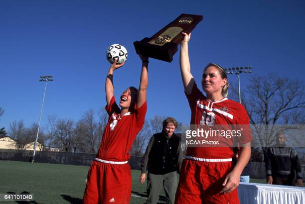 Megan Forman and Katie Buchert of Ohio Wesleyan University celebrate their team's victory during the Divison 3 Women's Soccer Championships held at...