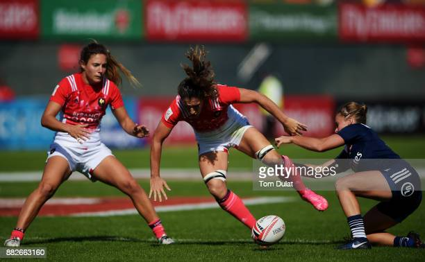 Megan Foster of United States and Fanny Horta of France battle for the ball during the match between United States and France on Day One of the...