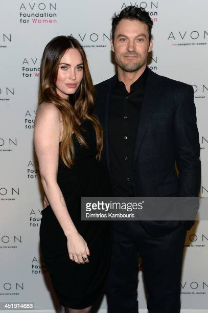 Megan Fox and Brian Austin Green at The Morgan Library & Museum in New York City at the Avon Foundation launch of its #SeeTheSigns of Domestic...