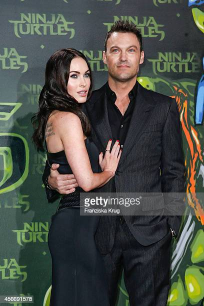 Megan Fox and her husband Brian Austin Green attend the 'Teenage Mutant Ninja Turtles' Premiere on October 05 2014 in Berlin Germany