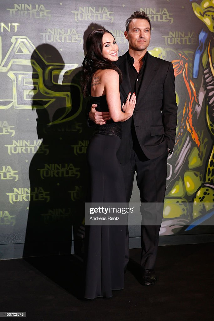 Megan Fox and husband Brian Austin Green attend the Underground Event Screening of Paramount Pictures' 'TEENAGE MUTANT NINJA TURTLES' at UFO Sound Studios on October 5, 2014 in Berlin, Germany.
