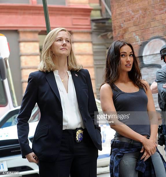 Megan Fox and Laura Linney on the set of 'Teenage Mutant Ninja Turtles 2' on May 12 2015 in New York City