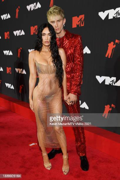 Megan Fox and Machine Gun Kelly attend the 2021 MTV Video Music Awards at Barclays Center on September 12, 2021 in the Brooklyn borough of New York...