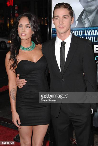 Megan Fox and Shia LaBeouf arrives at the Los Angeles Premiere of 'Eagle Eye' at the Mann's Grauman Chinese Theatre on September 16 2008 in Los...