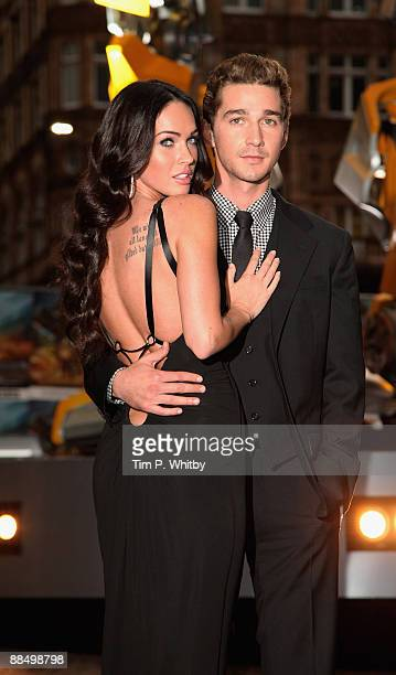 Megan Fox and Shia LaBeouf attend the UK Premiere of Transformers Revenge of the Fallen at Odeon Leicester Square on June 15 2009 in London England