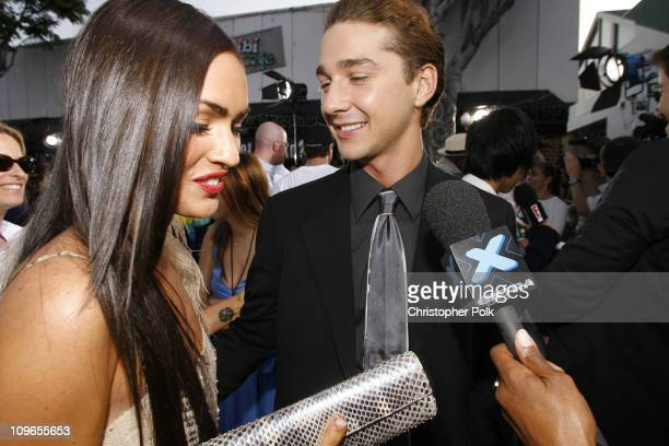 Megan Fox and Shia Labeouf during Transformers Los Anglese Premiere Arrivals and After Party at Mann Village Theatre in Westwood California United...
