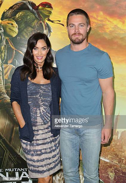 Megan Fox and Stephen Amell are seen attending a special fan event at Regal South Beach on behalf of the film 'Teenage Mutant Ninja Turtles Out of...