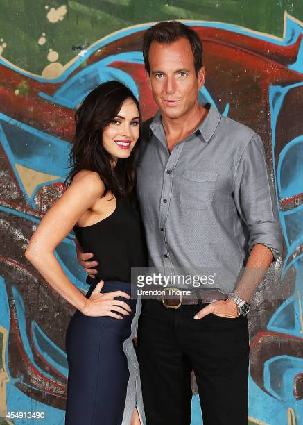 Megan Fox and Will Arnett pose during a photo call for the Teenage Mutant Ninja Turtles at Paddington Reservoir on September 8 2014 in Sydney...