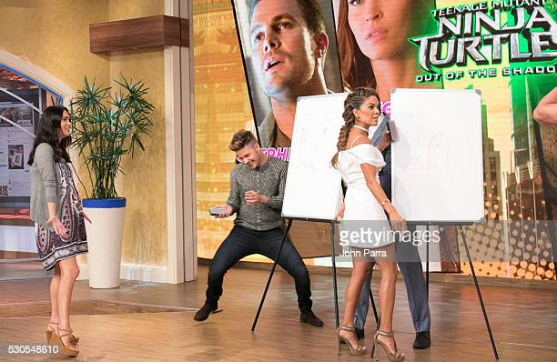 Megan Fox and William Valdes on the set of Univision's Despierta America in support of the film Teenage Mutant Ninja Turtles Out Of The Shadows at...
