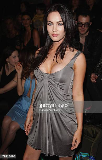 Megan fox attends the Gianni Versace show as part of Milan Fashion Week Autumn/Winter 2008/09 on February 21 2008 in Milan Italy