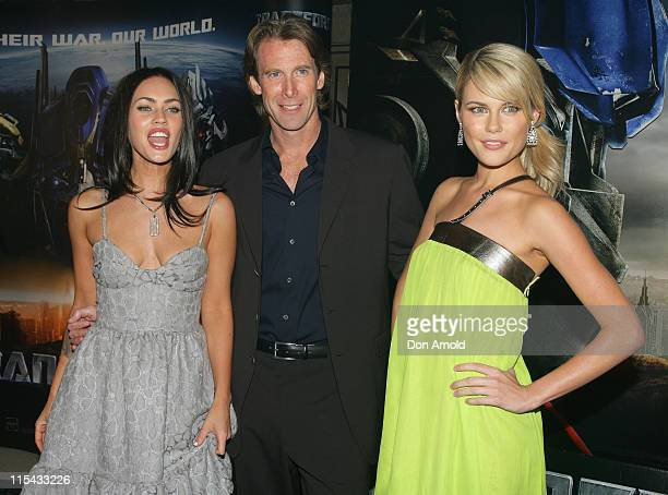 Megan Fox Michael Bay and Rachael Taylor during 'Transformers' Sydney Premiere at Hoyts Entertainment Quarter 213 Bent Street Moore Park in Sydney...