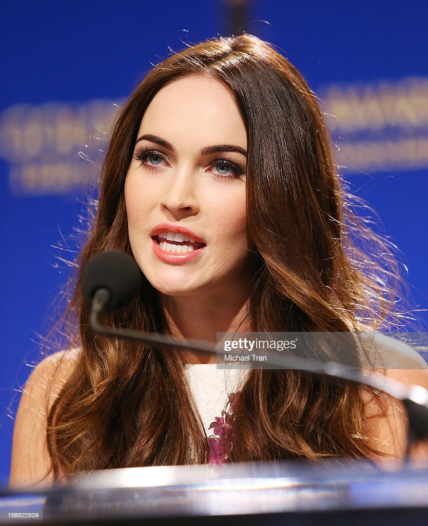 Megan Fox speaks at the 70th Annual Golden Globe Awards nominations announcement held at The Beverly Hilton on December 13, 2012 in Los Angeles, California.