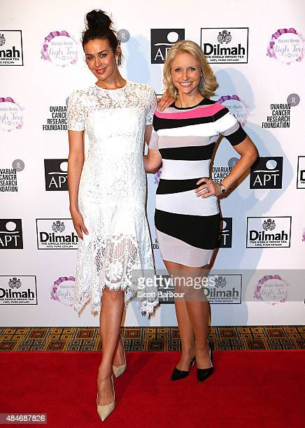 Megan Gale and Livinia Nixon arrive ahead of The Australian Women's Weekly and OCRF High Tea at Crown Melbourne on August 21 2015 in Melbourne...