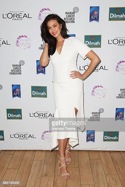 Megan Gale arrives ahead of The Australian Women's Weekly and OCRF High Tea at Centennial Parklands Dining on August 25 2015 in Sydney Australia