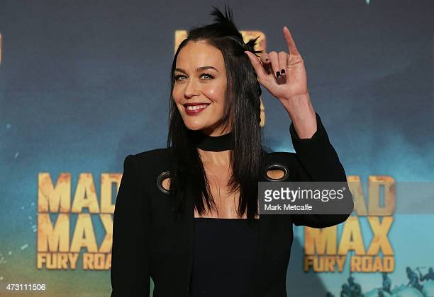 Megan Gale arrives at the Australian Premiere of Mad Max Fury Road at Event Cinemas George Street on May 13 2015 in Sydney Australia