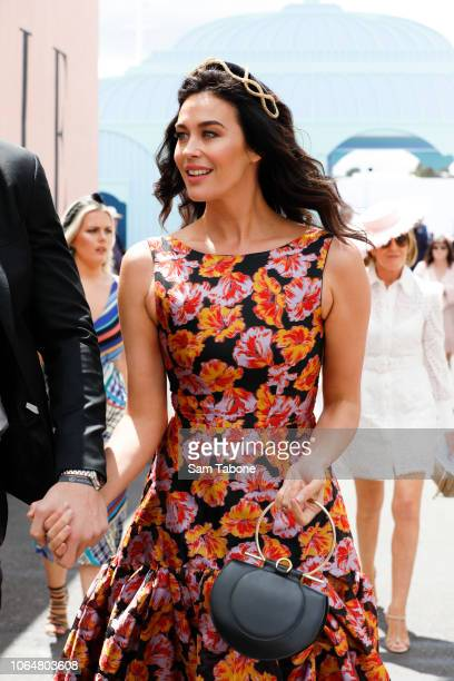 Megan Gale arrives at the Birdcage on Oaks Day at Flemington Racecourse on November 08 2018 in Melbourne Australia