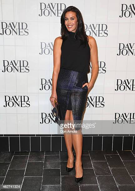 Megan Gale arrives at the David Jones Autumn/Winter 2015 Collection Launch at David Jones Elizabeth Street Store on February 4 2015 in Sydney...
