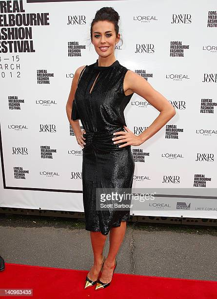 Megan Gale arrives at the David Jones Show and launch of L'Oreal Melbourne Fashion Festival on March 8 2012 in Melbourne Australia