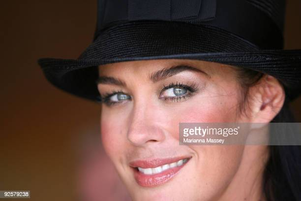 Megan Gale arrives at the Emirates marquee at the AAMI Victoria Derby Day at Flemington Racecourse on October 31 2009 in Melbourne Australia