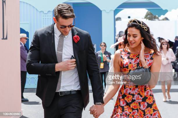 Megan Gale arrives in the Birdcage with partner Shaun Hampson on Oaks Day at Flemington Racecourse on November 08 2018 in Melbourne Australia