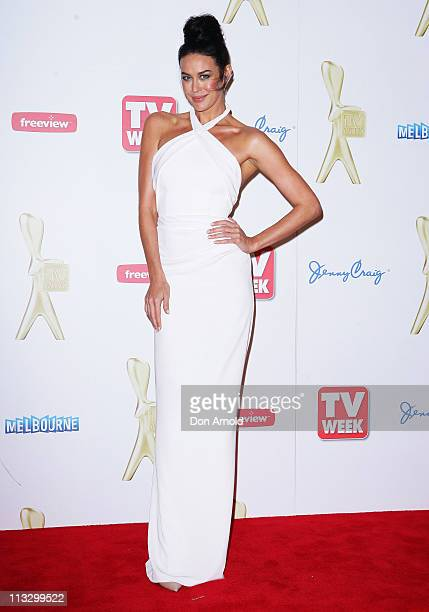 Megan Gale arrives on the red carpet ahead of the 2011 Logie Awards at Crown Palladium on May 1 2011 in Melbourne Australia